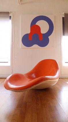 ••Charles Zublena•• 1968 ; ) #R6 Prototype 'Eurolax' Chaise Longue for Plastiques de Bourgogne