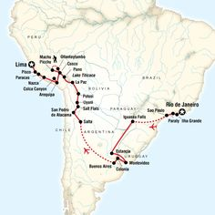 Map of the route for Rio to Lima Adventure