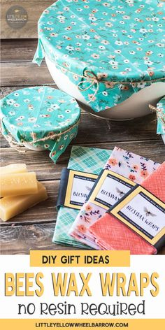 How To Make DIY Beeswax Wraps Without Resin (Fast & Easy). Easy to make diy beeswax wraps, no resin required! These eco friendly bees wax wraps make great gifts and are a perfect addition to your waste free kitchen. Bees Wax Wrap Diy, Diy Beeswax Wrap, Bees Wax Wraps, Bees Wrap, Diy Wax, Reusable Food Wrap, How To Make Diy, Diy Gifts To Make, Fancy