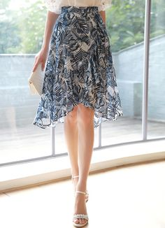Tropical Print Ruffle Skirt Styleonme