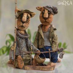 """Мишки Тедди ручной работы. Ярмарка Мастеров - ручная работа Композиция """"Рыбаки"""". Handmade."""