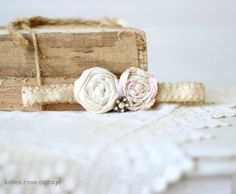 Petite Two Rolled Roses Headband ~ Baby