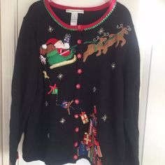 Not Ugly Christmas Cardigan 2X Embroidered Holiday Sequins Santa Black #CarlyStClaire #Cardigan
