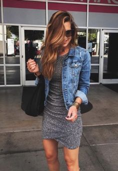 tight dress, jean jacket.