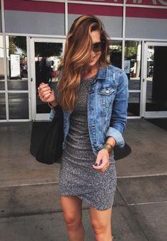 tight dress, jean jacket.