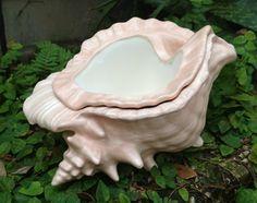 Sea Shell planter, self watering, conch shell, semi matte pink, mermaid blush, African violet planter, garden