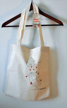 doğal kumaştan bez çanta _ kuş