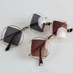 Round frame square lens sunglasses