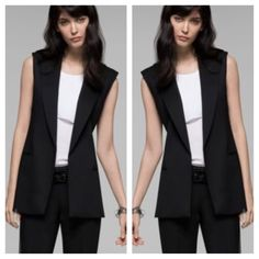 Black Theory Blazer Vest Good vest with pockets and slit in the back. 62% linen 36% viscose and 2% spandex. From shoulder to bottom is 24 inches. Same day or next day shipping. No trades and no holds. 20% off of bundles. Theory Jackets & Coats Blazers