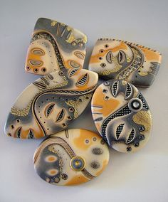 From One Good Thing. by julie_picarello Polymer Clay Mokume Gane Stone Crafts, Rock Crafts, Clay Crafts, Arts And Crafts, Pebble Painting, Pebble Art, Stone Painting, Rock Painting, Polymer Clay Kunst