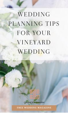 WEDDING PLANNING TIPS FOR YOUR VINEYARD WEDDING There's something so romantic about a vineyard wedding! If you're planning your dream wedding at a winery or vineyard, there are some things to take into consideration to ensure your day is all you envision it to be! Read on to find out our our top vineyard wedding planning tips. #vineyardwedding #weddingplanningtips #weddingplanningadvice