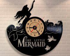 Little Mermaid Ariel vinyl wall record clock by Vinylastico