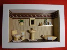 Quadro de banheiro tipo cenário,feito em madeira MDF, pintado com tinta PVA,miniaturas de gesso pintada à mão. Quadro encerado e com vidros de proteção. R$ 179,00