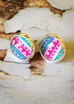 Aztec Pink Aqua stud earrings