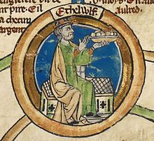 """Æthelwulf (Old English for """"Noble Wolf""""[2]) was King of Wessex from 839 to 858.[a] In 825 his father, King Egbert, defeated King Beornwulf of Mercia, ending a long Mercian dominance over Anglo-Saxon England south of the Humber. Egbert sent Æthelwulf with an army to Kent, where he expelled the Mercian sub-king and was appointed sub-king. After 830, Egbert maintained good relations with Mercia, and this was continued by Æthelwulf when he became king in 839."""