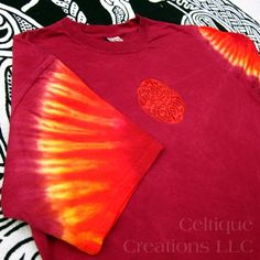 Large Celtic Tie-Dyed T-Shirt Hand Dyed Embroidered Knotwork Maroon | celtique_creations - Clothing on ArtFire