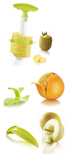 cool tools designed to neatly slice, peel and hull fruits and veggies Cool Kitchen Gadgets, Home Gadgets, Kitchen Hacks, Kitchen Tools, Cool Kitchens, Super Healthy Kids, Healthy Meals For Kids, Edible Bouquets, Kitchen Must Haves
