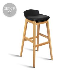 Set of 2 Low Back Oak/PU Leather Bar Stools | Black | 48x84cm | Trendy Chairs & Tables @ The Home