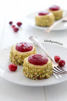 Mini cranberry pistachio cheesecake recipe from @bakedbyrachel A festive two bite holiday dessert!