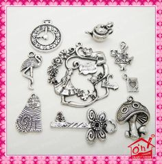 Tibetan Silver Alice in Wonderland Theme Charm Pendant Beads Jewellery Making