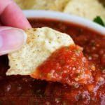 "5 Minute Restaurant Salsa | The Chunky Chef | Bright and fresh, this salsa is the best you've ever tasted! So easy to make and it's sure to ""wow"" anyone you make it for!"