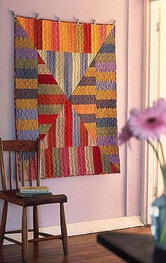 kaleidoscopic stripes quilt wall hanging