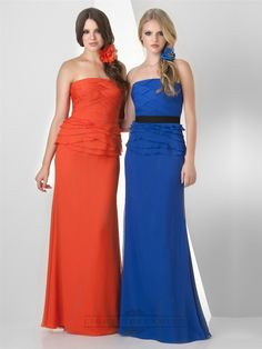 Strapless Criss Cross Shirred with Ruffled Bridesmaid Dresses