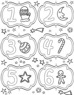 Kolorowanki Kalendarz adwentowy dla dorosłych: do druku 1
