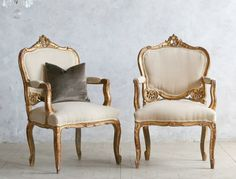 One of a Kind Vintage Shabby Gilt Louis XV Upholstered Armchairs Floral Pair. #FrenchGardenhosue.com #Shabby #Chic #French #Furniture #Gilt