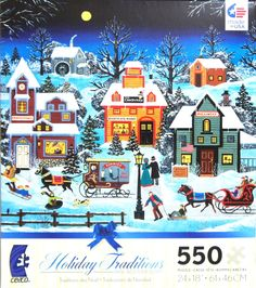 """Holiday Traditions Candlelight and Moonlight"" ~ a 550 piece jigsaw puzzle by Jane Wooster Scott"