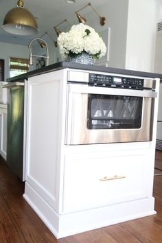 Drawer microwave Sharp on Amazon ~$826 EMILY CLARK: Our Green and White Kitchen Renovation
