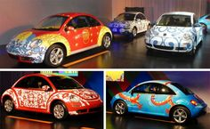 Cars are often used for promotional purposes, and not just for dealerships. These Volkswagens were given crisp, eye-catching paint jobs to promote the 2008 Beijing Olympics. They traveled to VW dealerships all over China, and reportedly garnered lots of attention wherever they went.