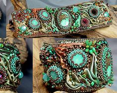 Tequila Sunrise: Turquoise Bead Embroidered Shibori Cuff/Bracelet