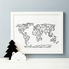 A beautiful nursery print featuring the world map in geometric form.Our drawing is a fun representation of the world, we can also print with Antarctica so please choose from the design you would prefe (Beauty Design Drawing) Nursery Design, Nursery Prints, Map Nursery, Graphisches Design, Presents For Kids, Home Technology, Geometric Art, Geometric Designs, String Art