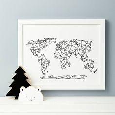 Geometric World Map Print