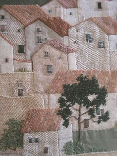 This idea would also be beautiful to use a picture of Greece.This says: Patchwork Workshop on Gaby: Travel textiles Patchwork Quilting, Applique Quilts, Art Quilting, House Quilts, Fabric Houses, Fabric Art, Fabric Crafts, Quilt Modernen, Art Du Fil