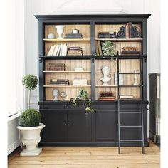 Black Bookcase with Ladder - Wood Bookcases - Ideas of Wood Bookcases - Solid wood bookcase with ladder in black W Versailles Bookcase With Drawers, Pine Bookcase, Black Bookcase, Ladder Bookcase, Bookcases, Bookcase Door, Kitchen Buffet, Bookshelf Design, Affordable Furniture