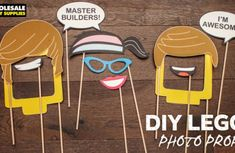 A LEGO Movie adventure is the perfect way to celebrate a birthday. Snap some selfies with these DIY LEGO photo booth props. Nerf Birthday Party, Nerf Party, Party Props, Birthday Ideas, 8th Birthday, Lego Movie Party, Party Hacks, Party Ideas, Gift Ideas
