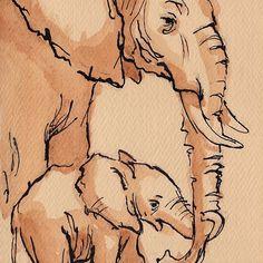 'My Mama: Baby Elephant & Mama Watercolor Painting by Rebecca Rees Elephant Doodle, Baby Elephant Drawing, Elephant Sketch, Baby Animal Drawings, Elephant Art, Animal Sketches, Art Drawings Sketches, Elephant Watercolor, Elephant Drawings