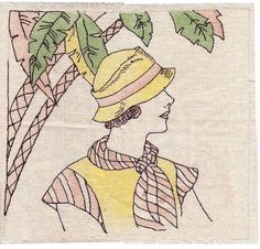 Vintage Tinted Embroidered Vogart Era Pillow Cover Lady Hat | eBay