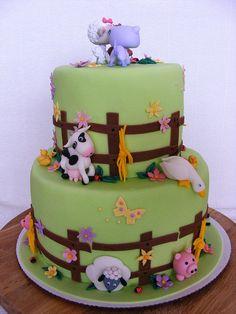 farm animals cake by bubolinkata, via Flickr birthday, baby shower cakes, animal cakes, cakes with animals, cake baby, farm anim, baby cakes, anim cake, baby showers