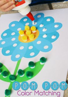 Children can work on color recognition with this pom pom color matching activity. While matching their colors, kids will also work on their fine motor skills as they squeeze the glue bottle and placing the pom poms. Preschool Learning, Toddler Preschool, Toddler Crafts, Preschool Crafts, Toddler Activities, Crafts For Kids, Learning Games, Teaching, Spring Activities