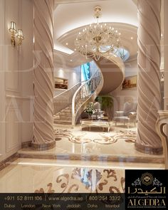 #arabic #design #designfurniture #art #artist #interiordesign #furniture #like4like #BillyCh #followme Staircase Design, Marble Staircase, Grand Staircase, Luxury Living, Houses On The Water, House Rooms, Dream Rooms, Memento Vivere, Luxurious Homes