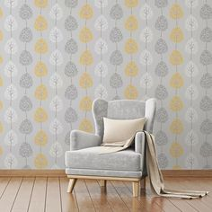 The wallpaper features a fun, tree design on a shimmering metallic background and will brighten a living room, bedroom or elsewhere. In a contemporary grey colour scheme with yellow accents, the Fine Decor Tree Grey/Yellow Wallpaper is a great choice. | eBay!