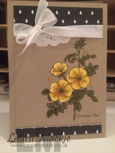handade card by Laura Mackie ... kraft base with coloring in bright colors ... Briar Rose in yellow ... Stampin' Up!