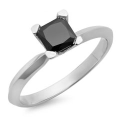 1.00 Carat (ctw) 14K White Gold Princess Cut Black Diamond Ladies Solitaire Bridal Engagement Ring 1 CT. An outstanding collection of Diamond Jewelry at great prices from Dazzling Rock.