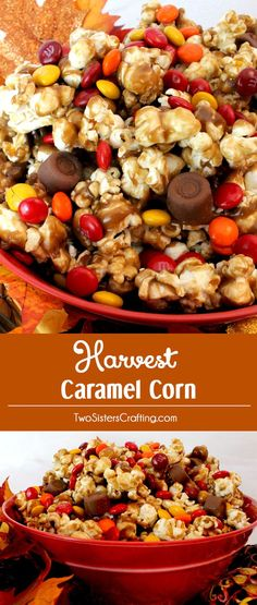 Harvest+Caramel+Corn+-+a+fun+Fall+treat.+Sweet+and+salty+popcorn+covered+in+delicious+caramel+-+so+delicious+and+so+easy+to+make.+It+would+be+a+great+Thanksgiving+Party+Food+or+a+Fall+movie+night+dessert!+Follow+us+for+more+fun+Thanksgiving+and+Fall+Food+ideas.