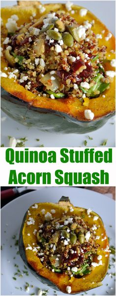 Quinoa Stuffed Acorn Squash Recipe- Tender acorn squash stuffed with healthy quinoa, dried cranberries, chicken sausage and veggies, topped with crispy pumpkin seeds and feta cheese. Serve as a colorful and healthy entree or side dish.