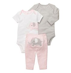 Product: Carters® Baby Girls Pink 3-pc. Elephant Pants Set