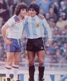 Keegan and Maradona,Wembley,1980.